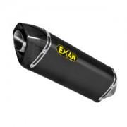 EXA004 Silenciador Oval Tapa de Carbono, Cuerpo de Acero Inoxidable Negro BMW F 700,800 adv GS (08-17)