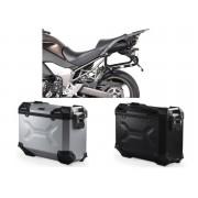 * MLTAD023 Maletas Laterales TRAX ADVENTURE (Negro/Plata) Soporte EVO Kawasaki Versys 1000 (12-14)