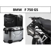 * 0MLTADPRO001 Maletas Laterales TRAX ADVENTURE (Negro/Plata) Soporte PRO BMW F750GS