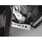A012A Extensión delantera de protector de motor. Negro/plateado. Modelos BMW R-LC R1200 (13-), R1250 (18)